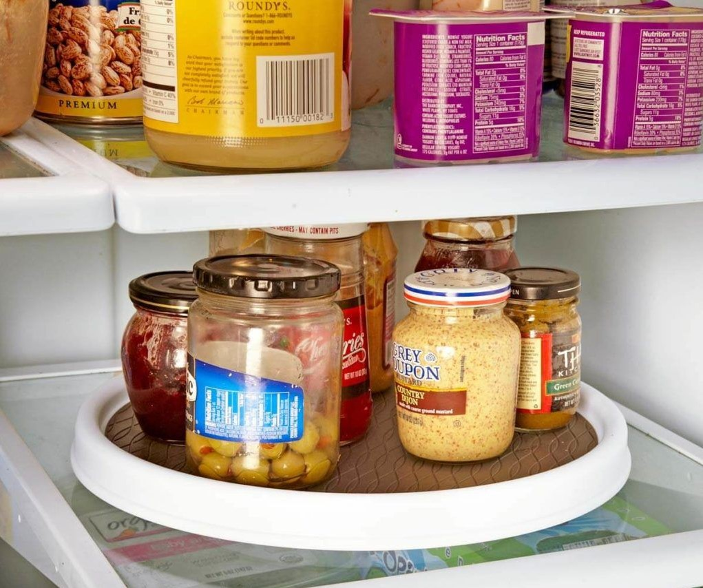 Put A Lazy Susan In Your Fridge To Avoid Knocking Things Over