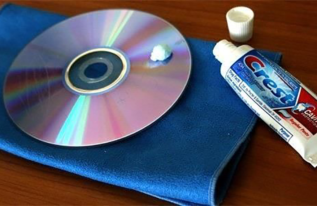 Toothpaste on a CD