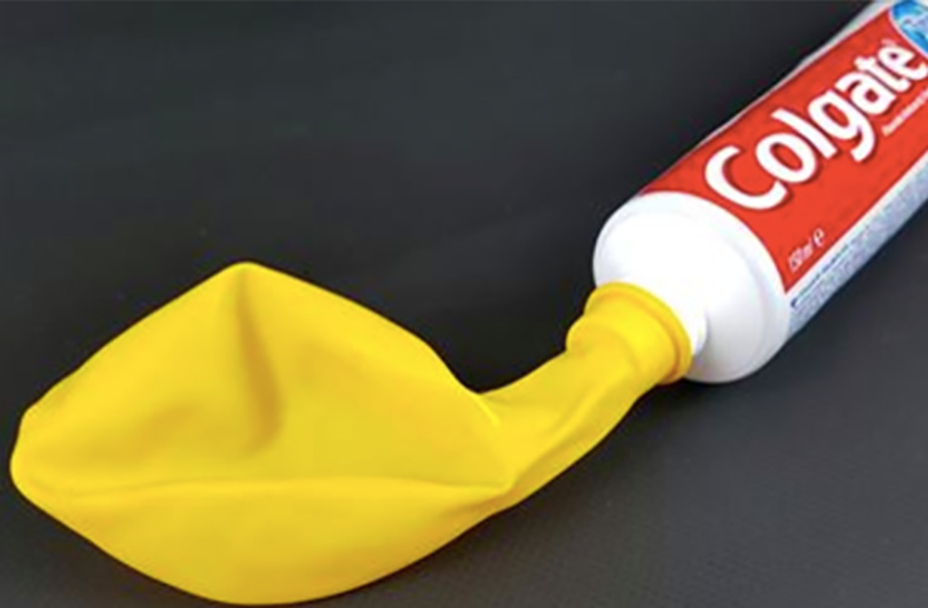 Balloon and toothpaste