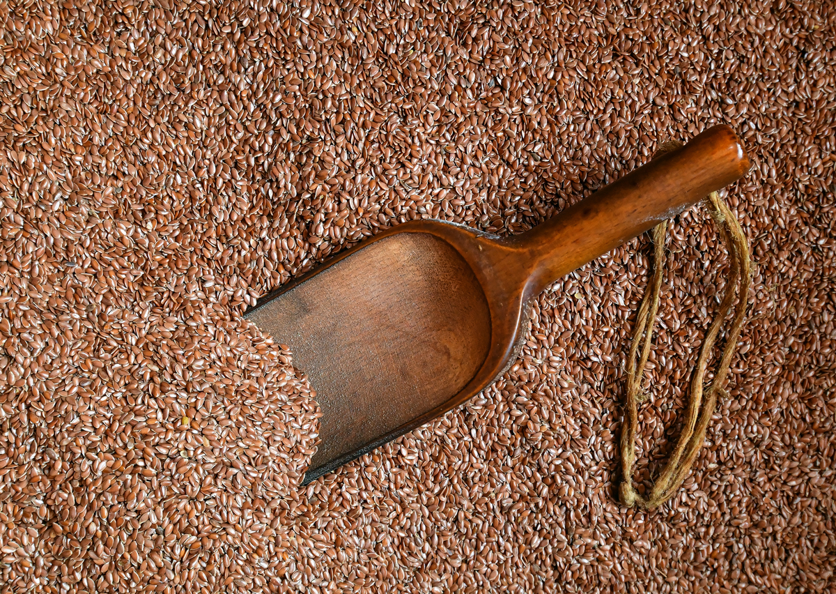 A wooden scoop sits in a huge pile of flaxseeds.