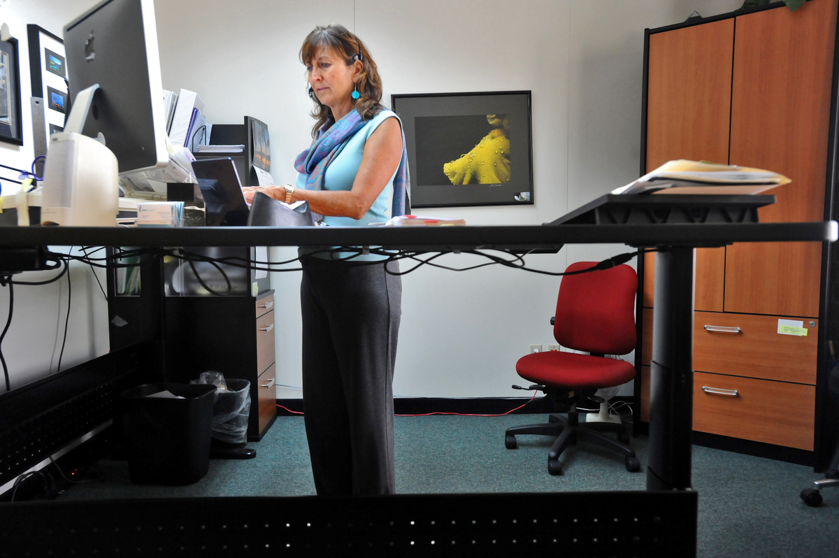 Karen Burke, the president of Kare Products, works standing at her desk.