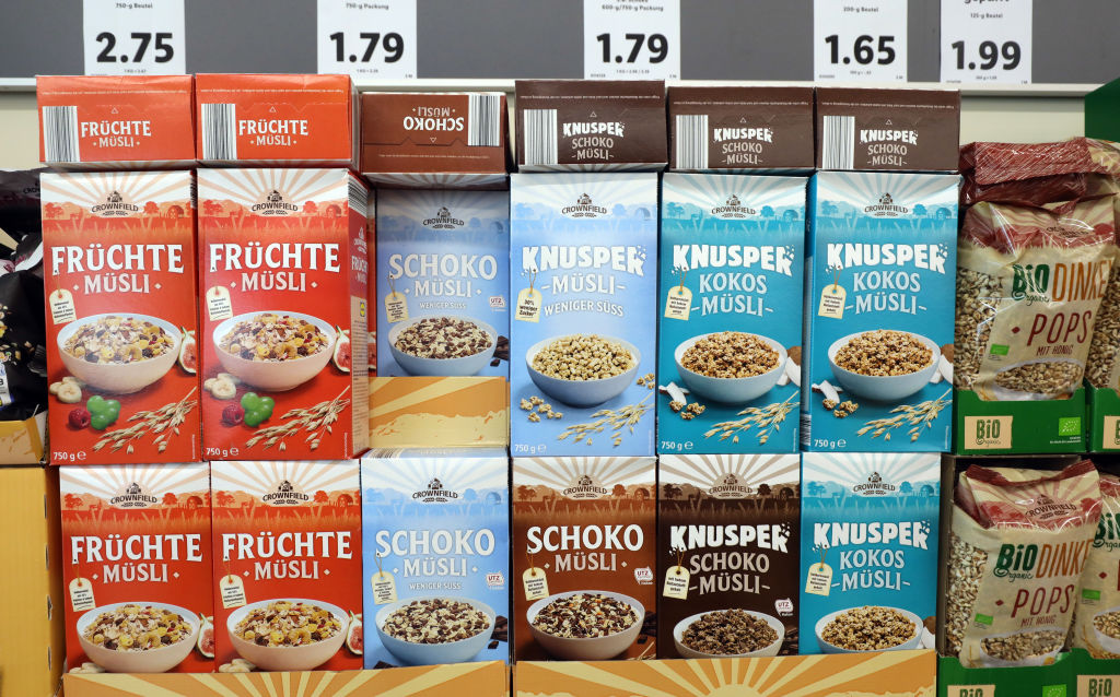 Varieties of muesli are offered at a supermarket.