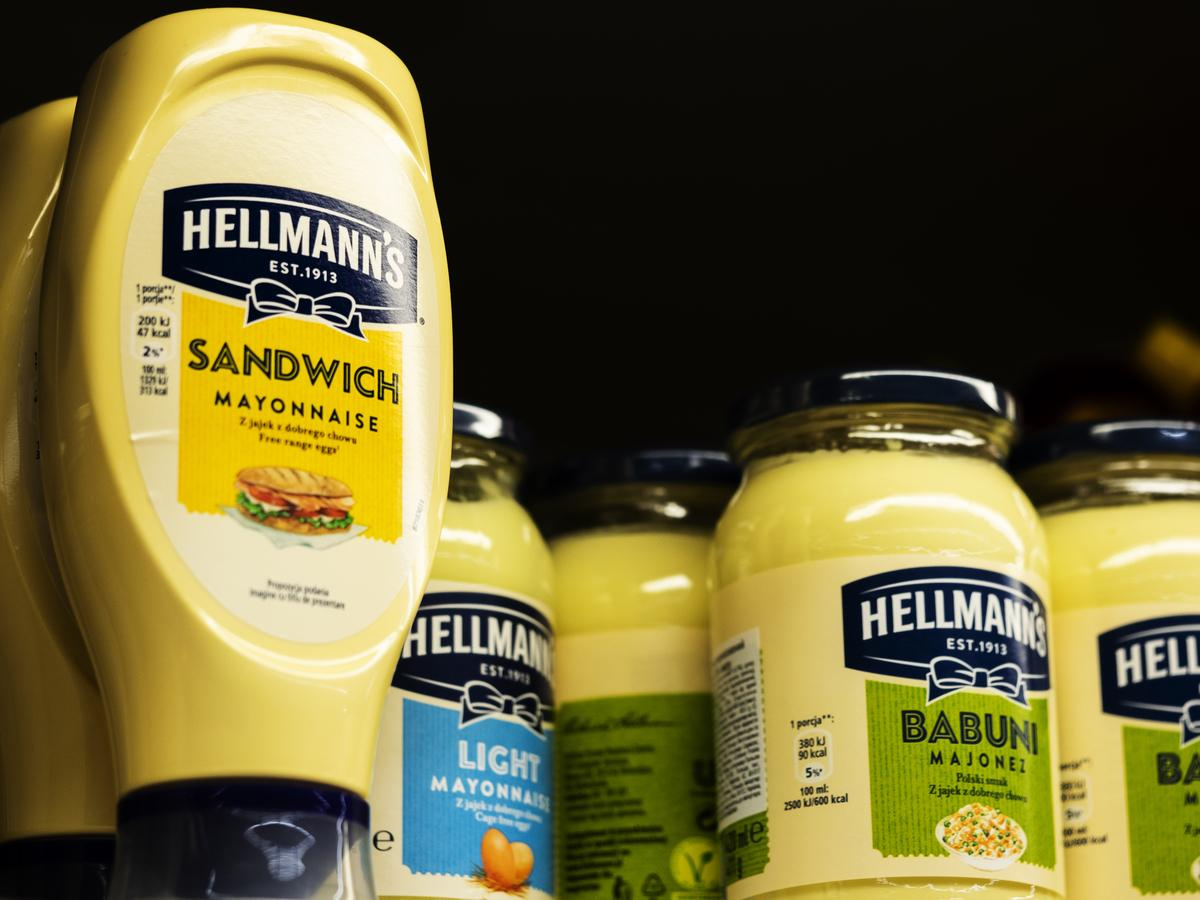 Hellmann's jars of mayonnaise are seen on a shelf at a store.