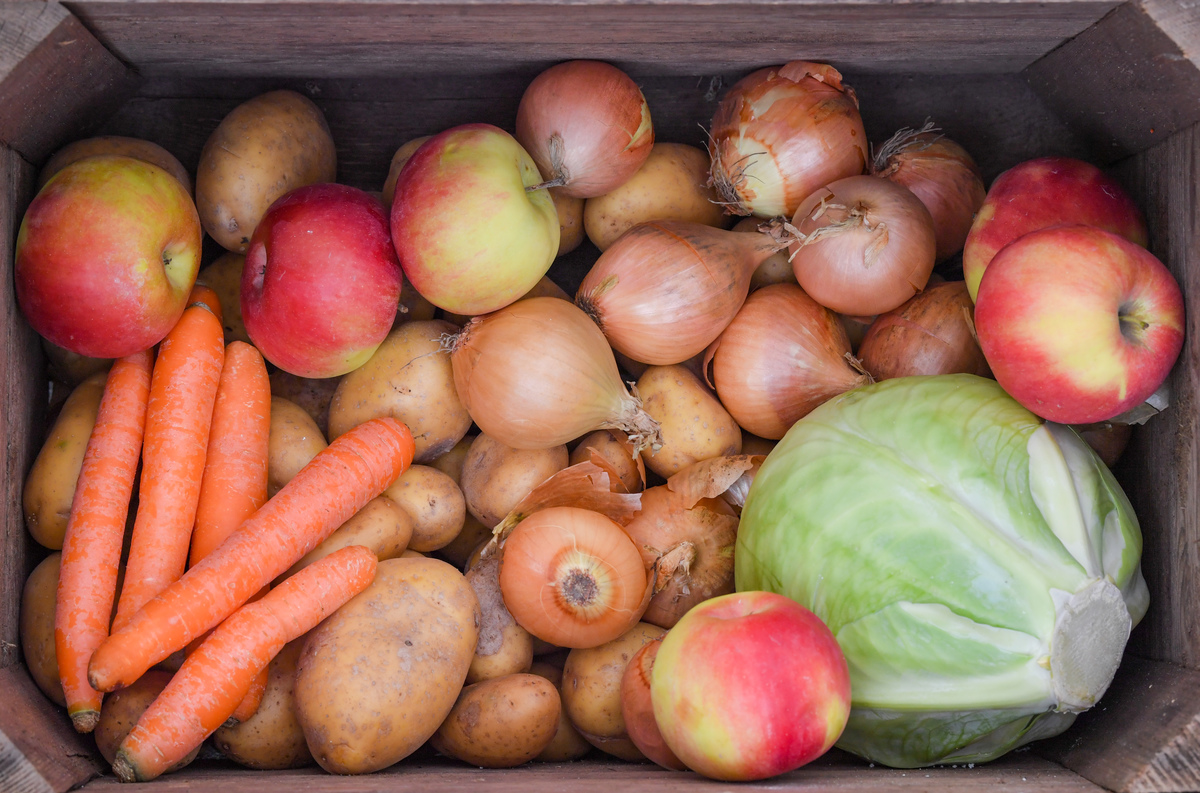 A wooden box contains vegetables and fruit, such as carrots, potatoes, onions, apples and a white cabbage.