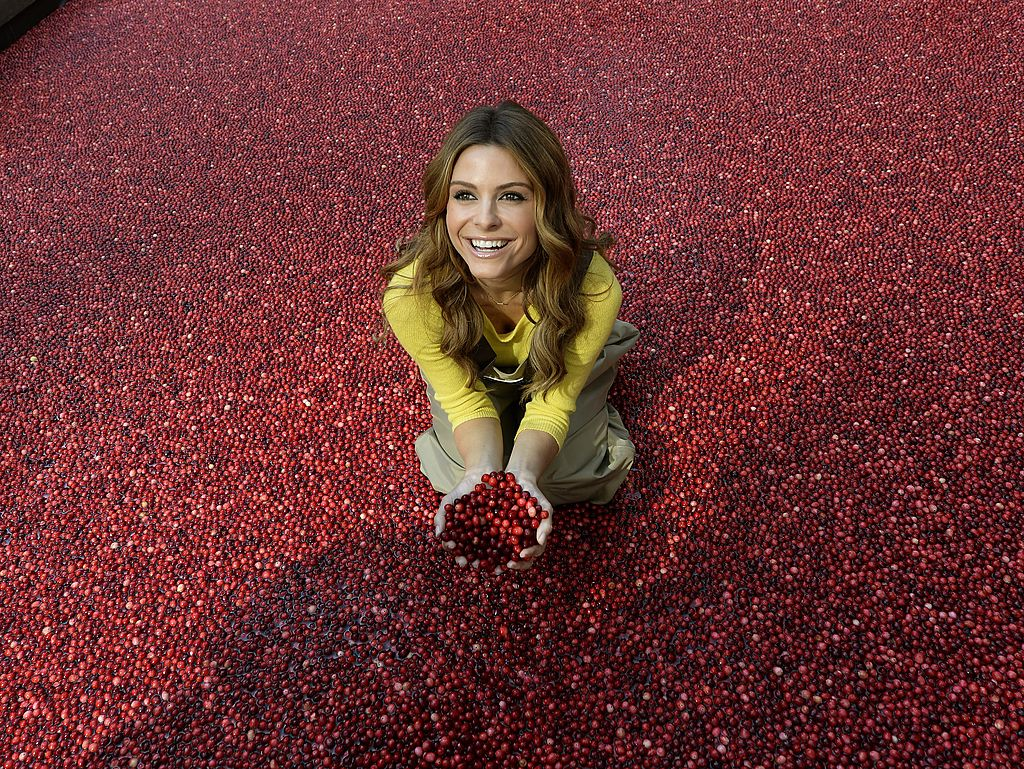 lady holding a bunch of cranberries