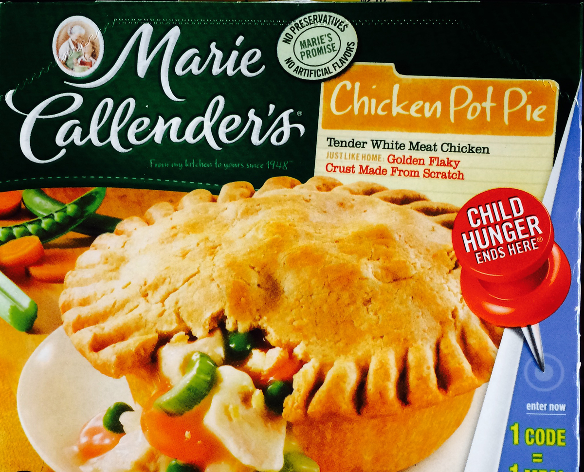 The frozen meal box is for a Marie Callender's chicken pot pie.