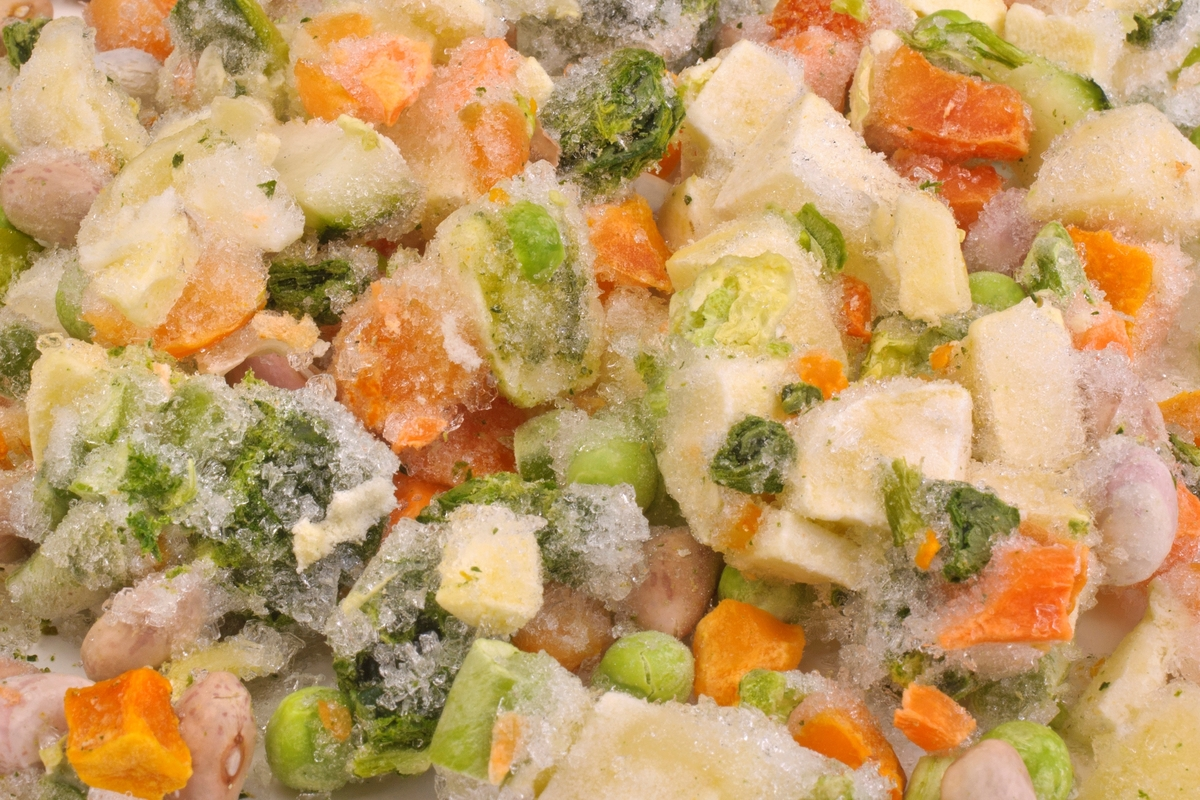 Vegetables from soup are frozen.