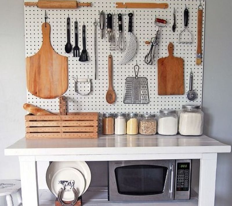 Pegboard Storage Gives Your Kitchen A Rustic Look