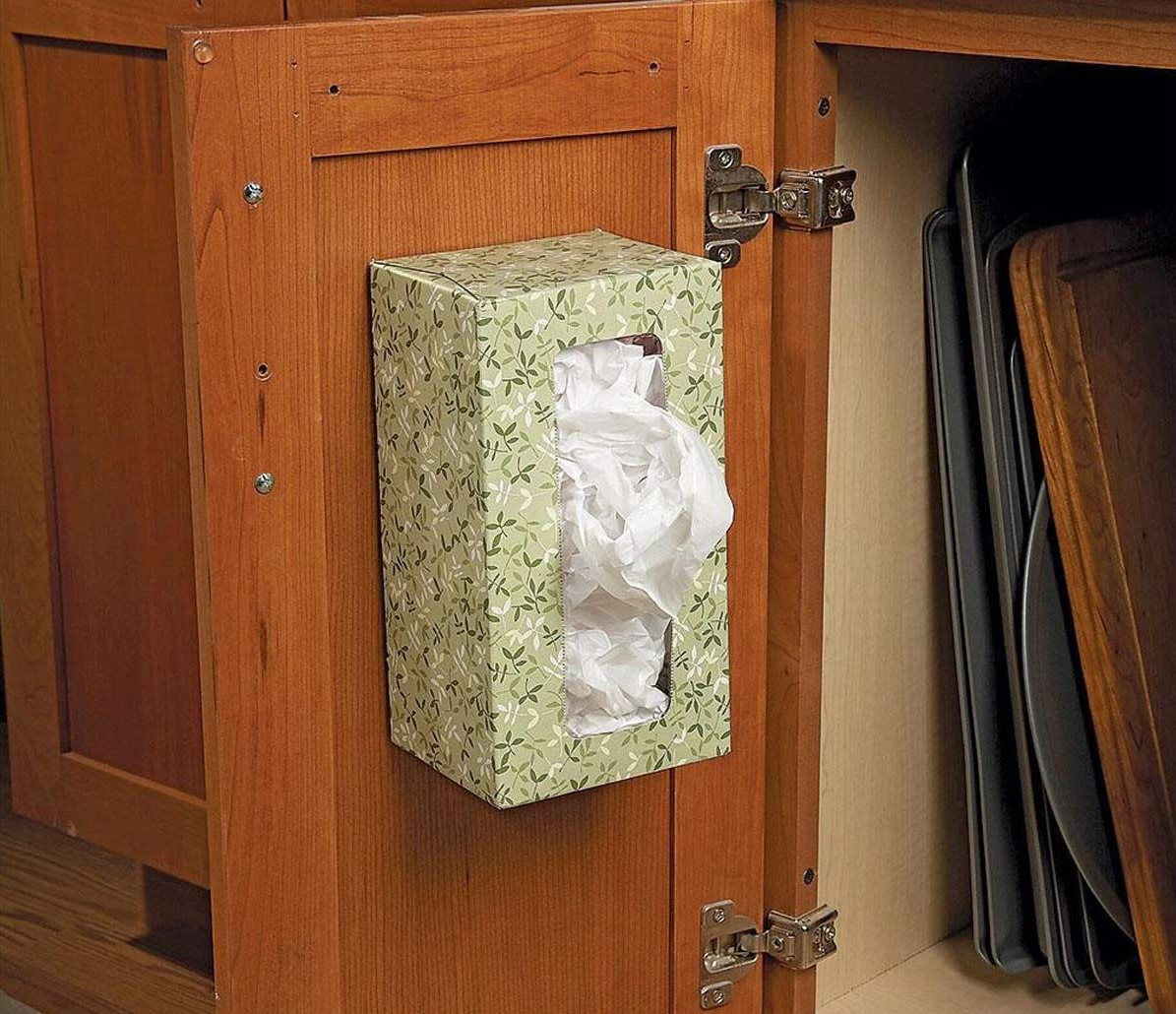 Use An Empty Tissue Box As A Plastic Bag Holder