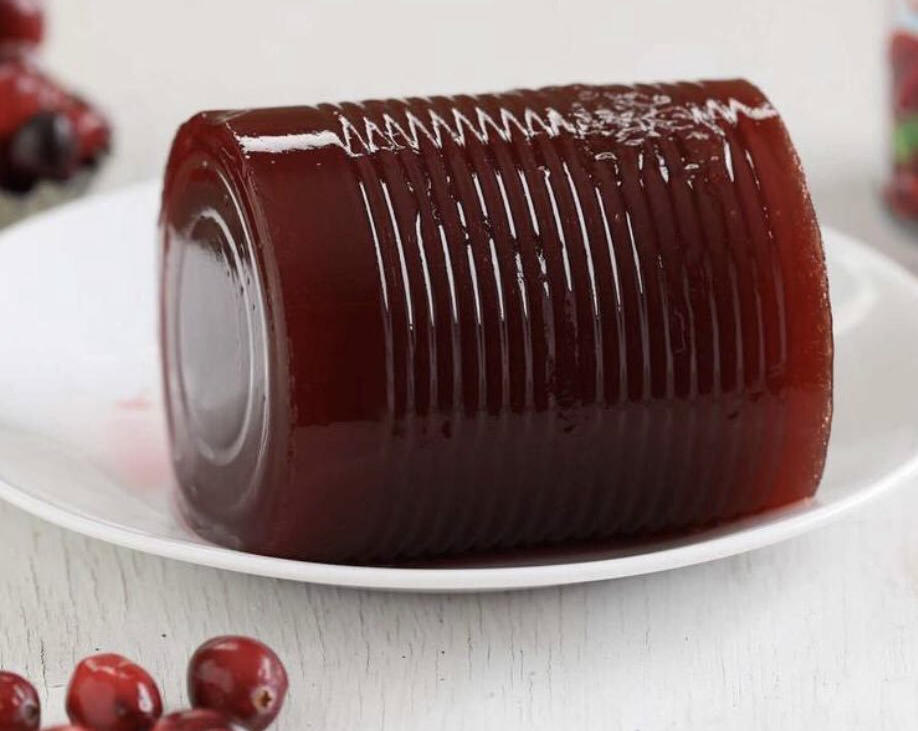 Canned cranberry sauce sits on a white plate surrounded by fresh cranberries.