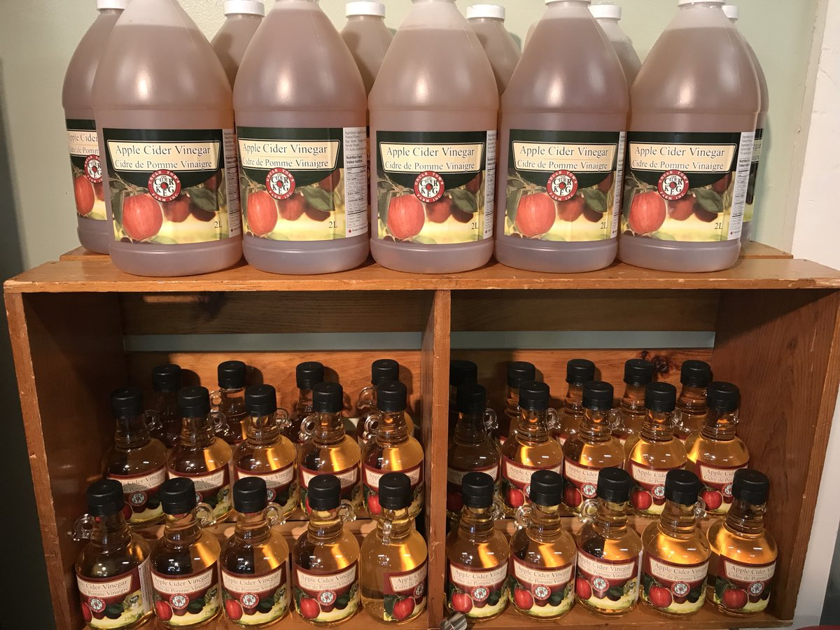 Bottles of Cider Keg apple cider vinegar line the shelves.