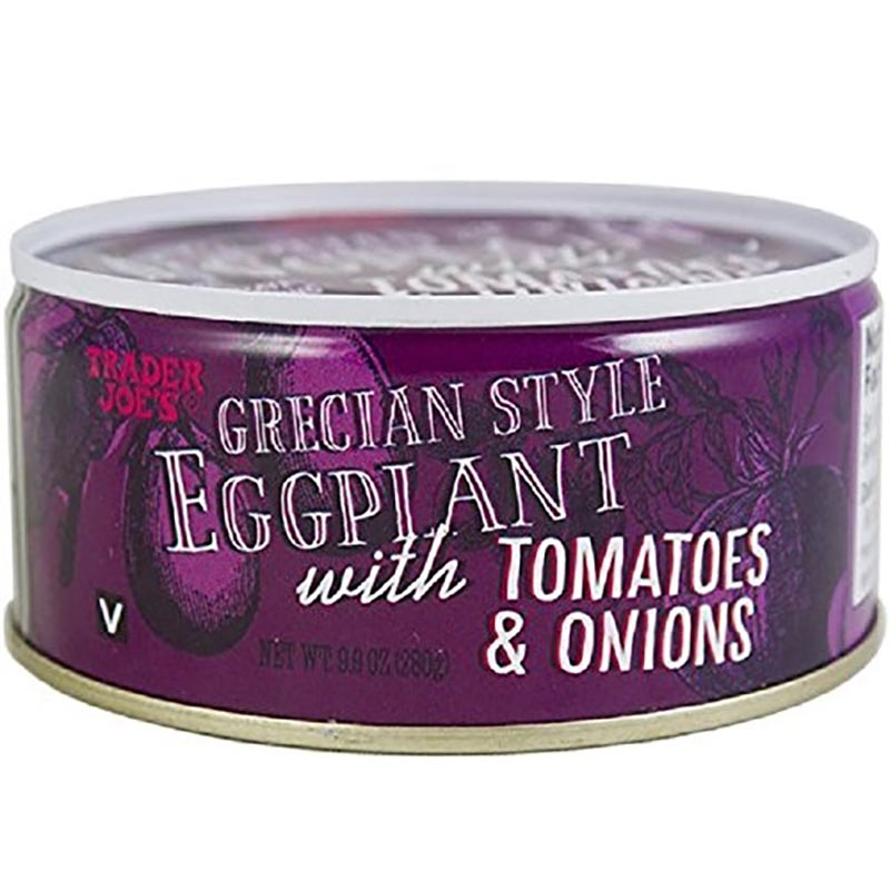 A can of Trader Joe's grecian style eggplant sit in front of a white backdrop.