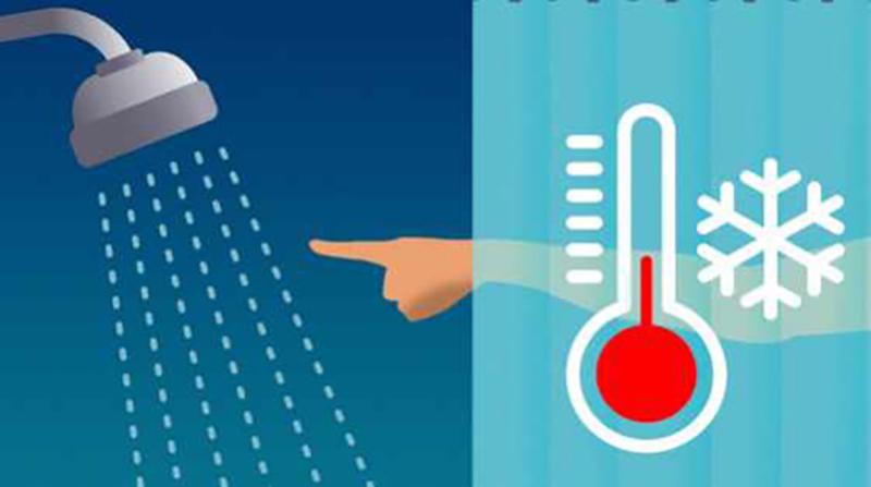 A diagram illustrates lowering shower temperature.