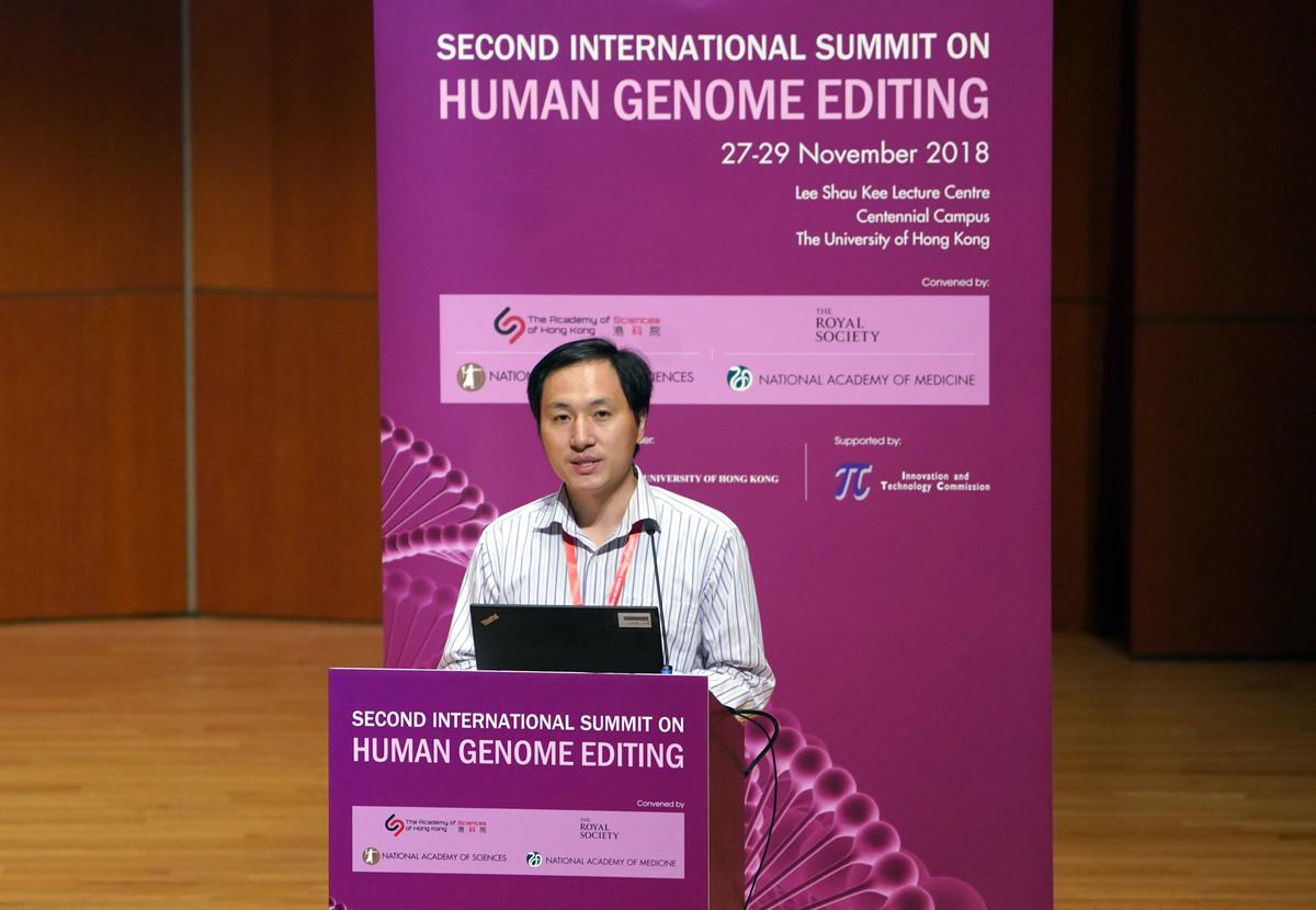Biological researcher He Jiankui speaks on day two of the Second International Summit on Human Genome Editing.