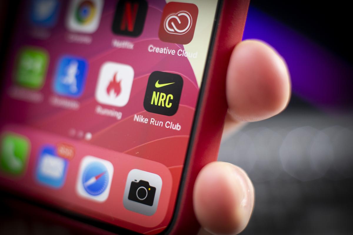 The Nike Run Club app is seen on an iPhone.