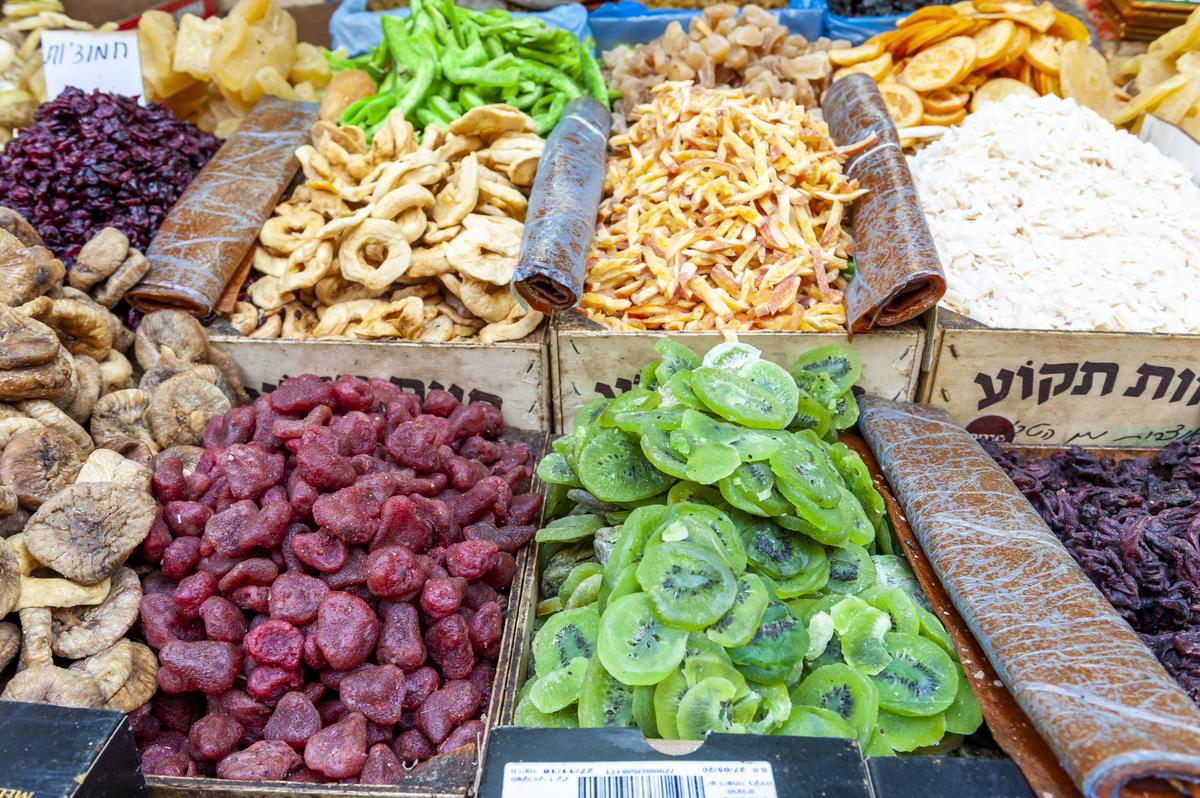 Dried fruit is on sale in Tel Aviv, Israel.