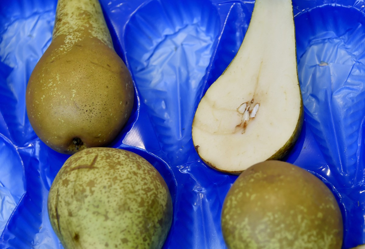Sliced pears are displayed in a blue container.