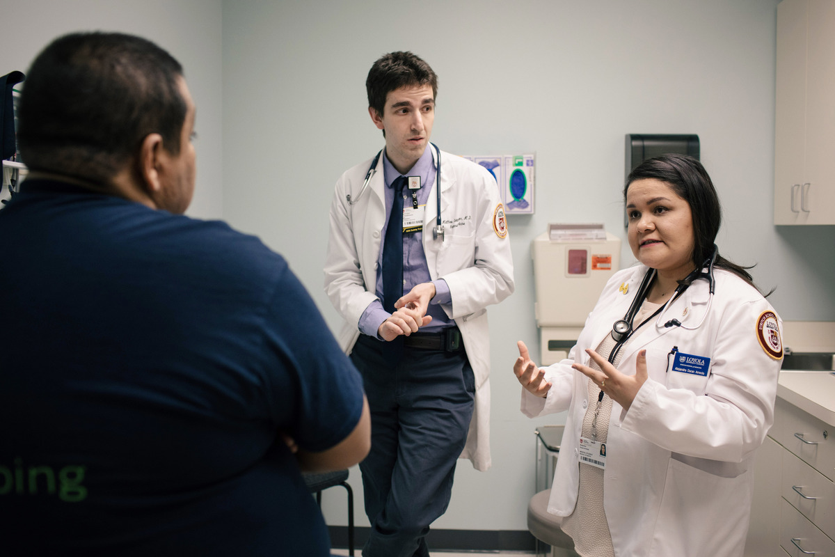 Alejandra Duran Arreola, a second year student who intends to practice Obstetrics and Gynecology, works as a translator for Dr. Matt Steinberger.