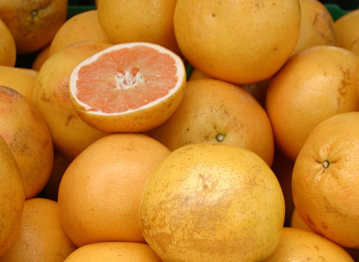 Florida pink grapefruit is stacked for sale.