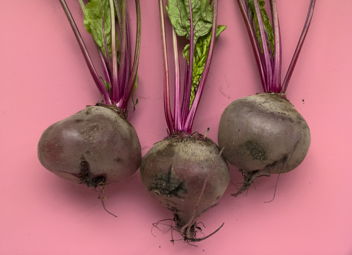 Three beets sit against a pink background.