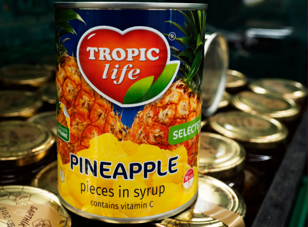 canned pineapple pieces in syrup