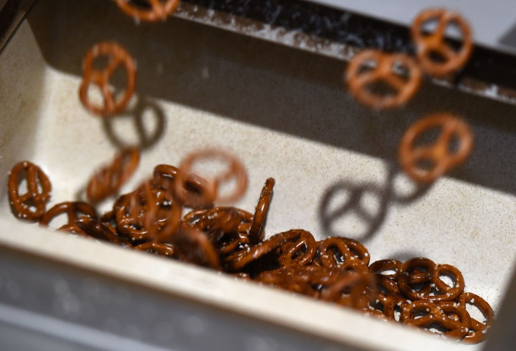 pretzels at the end of a production line