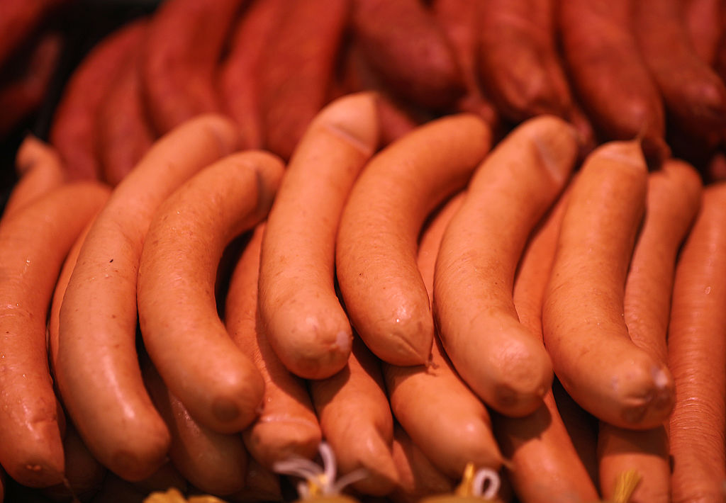 sausage on display at a butcher shop
