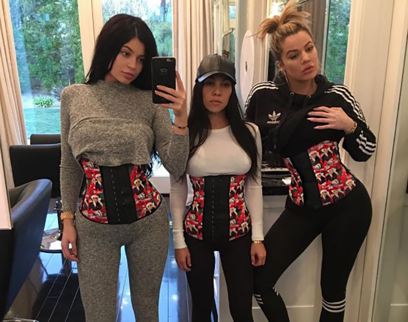Khloe Kardashina and her friends wear waist trainers.