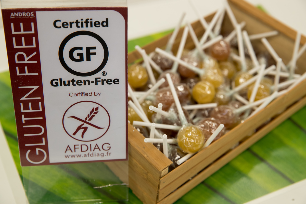 Gluten free lollipops can be seen at a stand at the Biofach organic food trade fair.