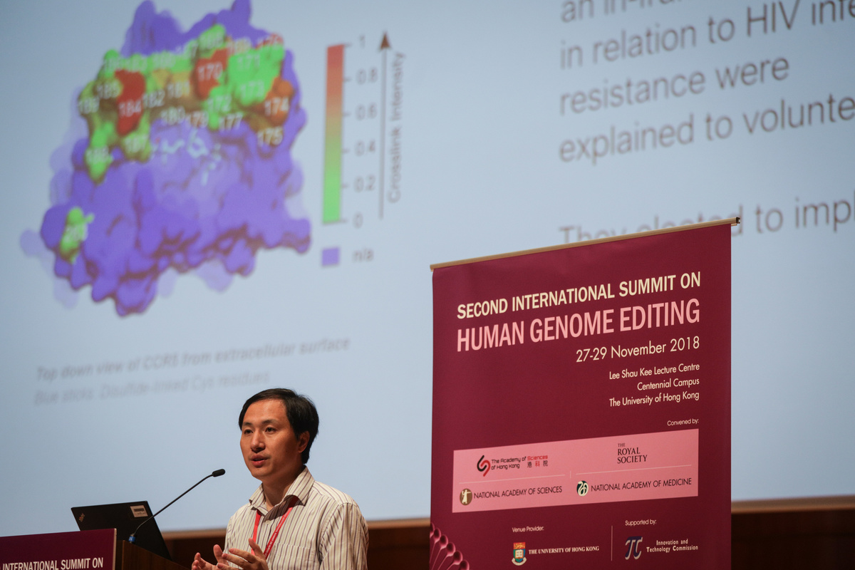 Chinese geneticist He Jiankui speaks during the Second International Summit on Human Genome Editing.