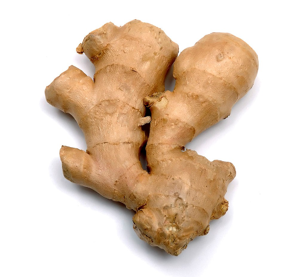 The root of ginger is pictured.