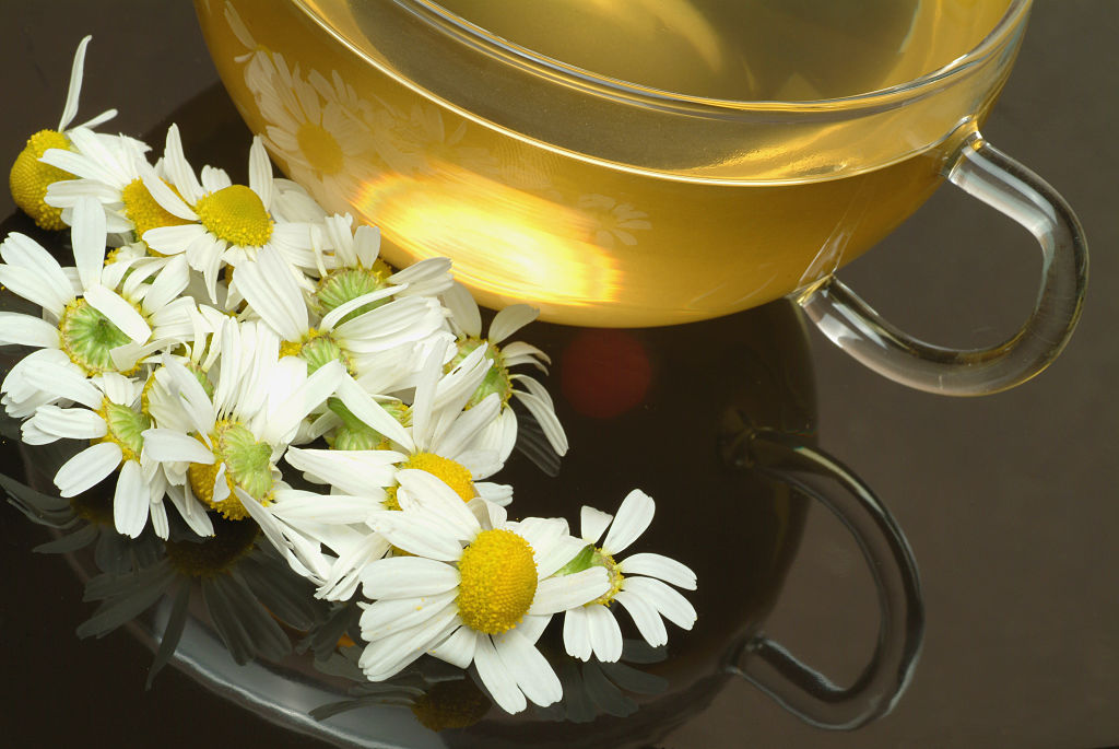 A cup of chamomile tea is pictured with flowers.