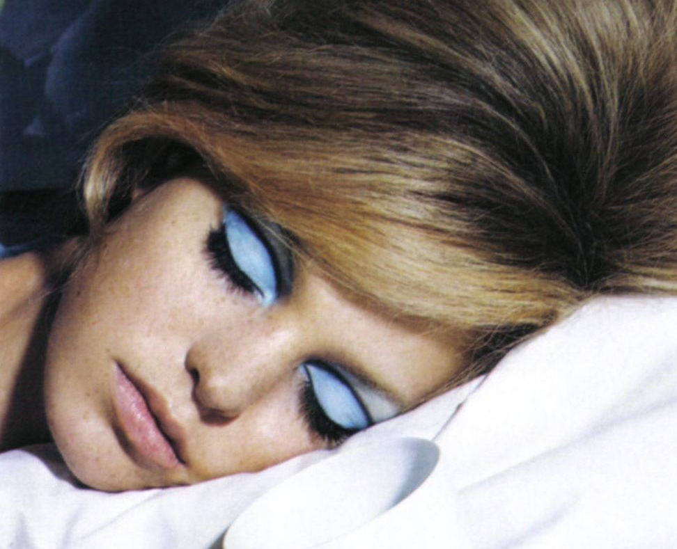 In the 1970s, a woman sleeps with makeup on.