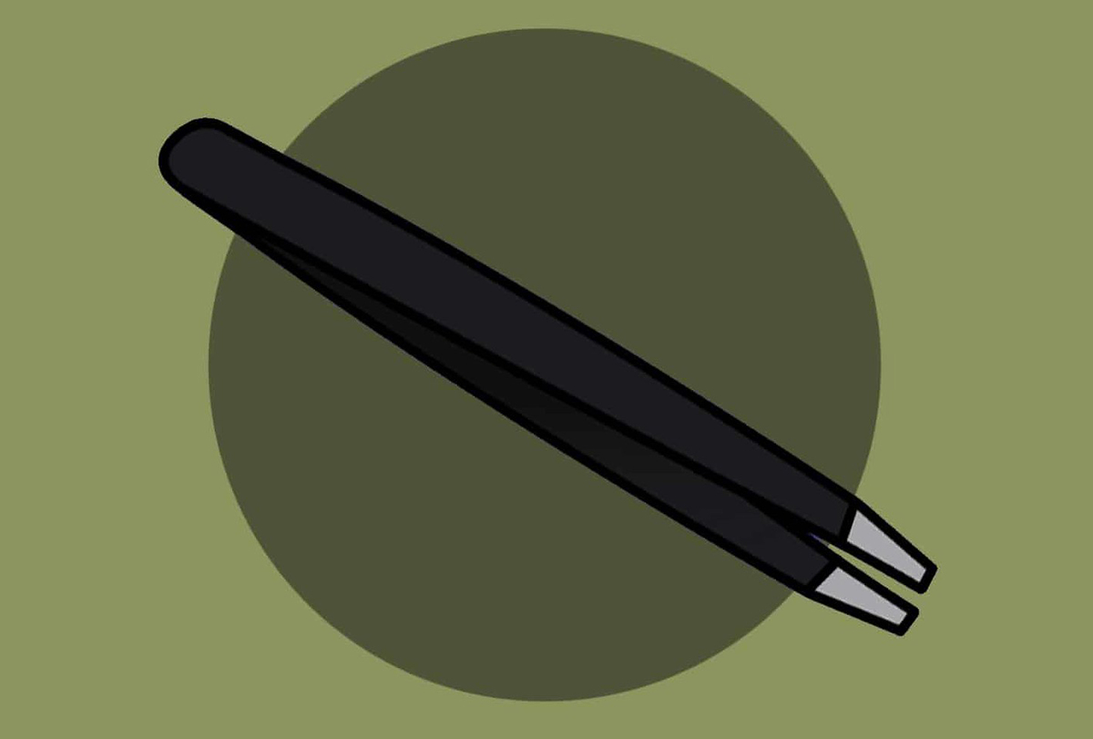A graphic of tweezers is seen on a green background.