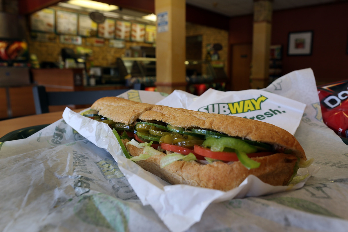 A vegetarian footlong sandwich is seen at Subway.