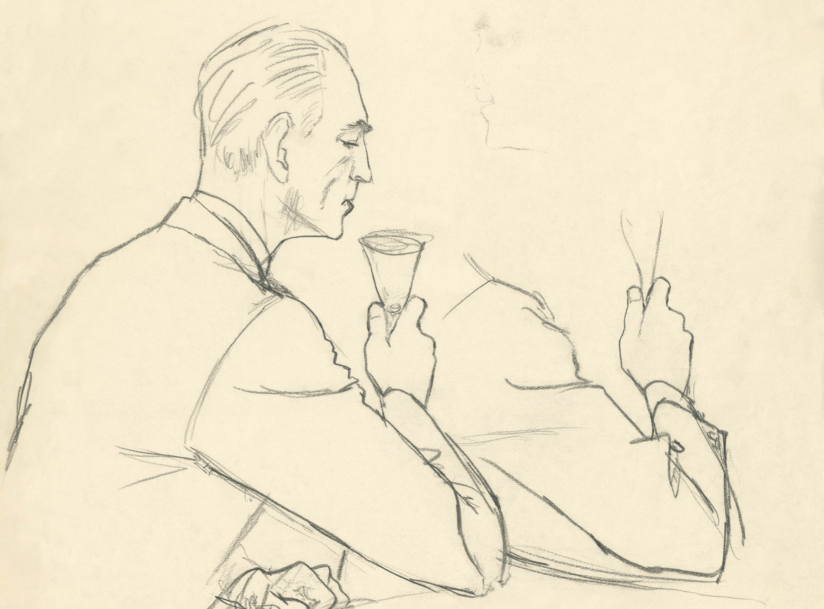 A drawing depicts a man drinking from a glass.