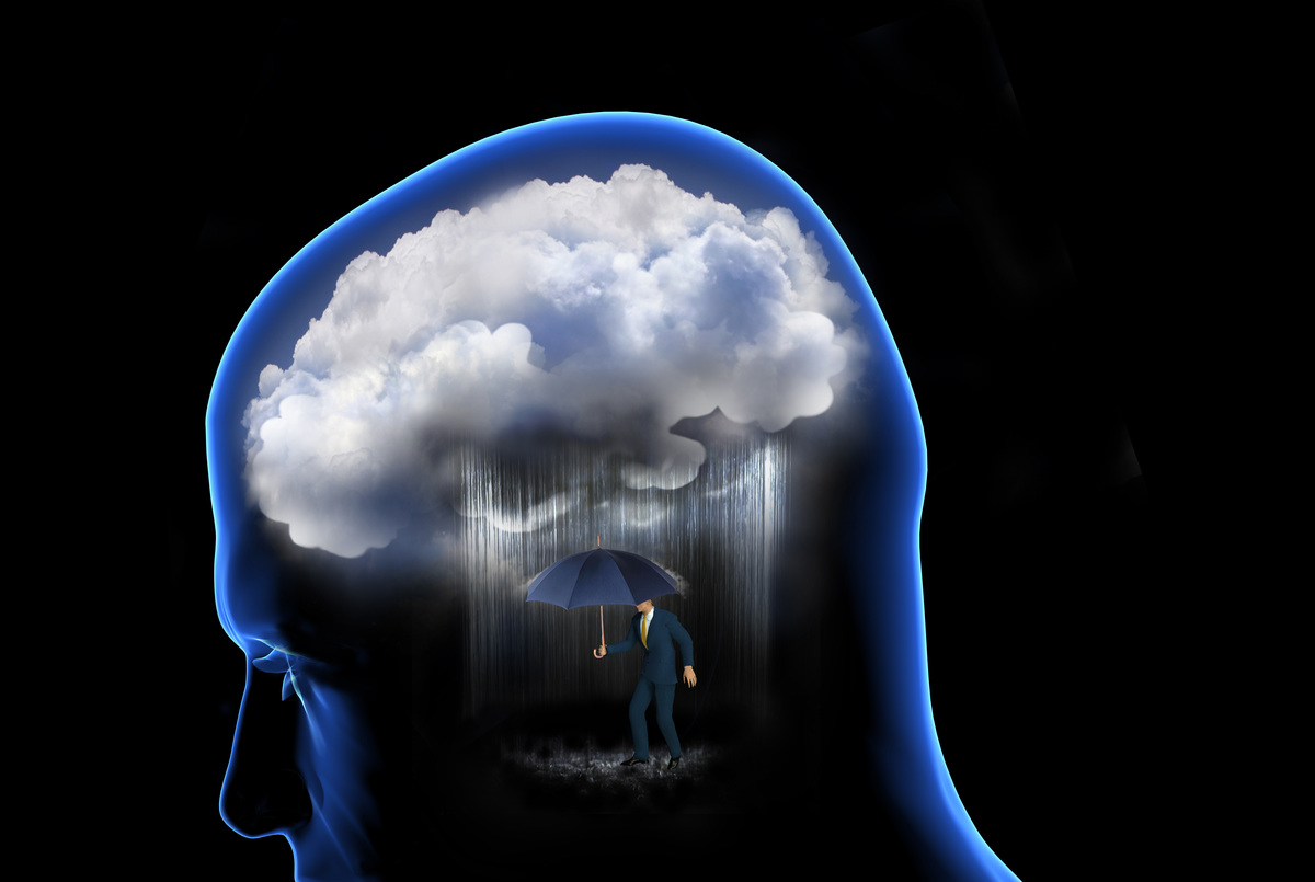 An illustratin shows rainclouds in the brain.