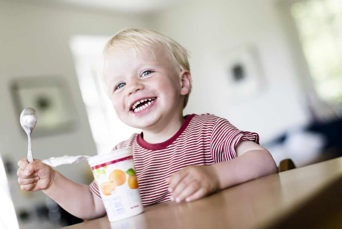 A two-year-old boy eats yogurt.