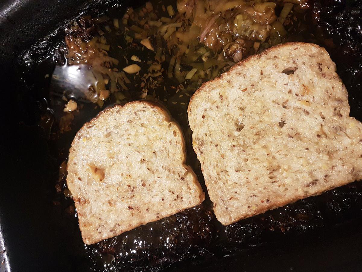 Bread cooks in pork fat.