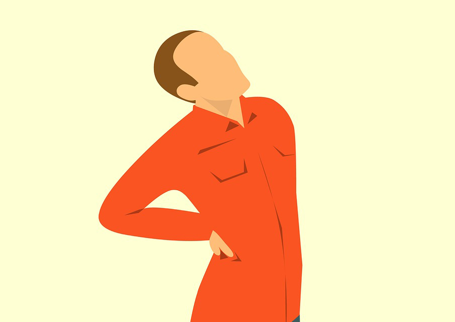 An illustration shows a man clutching his back in pain.