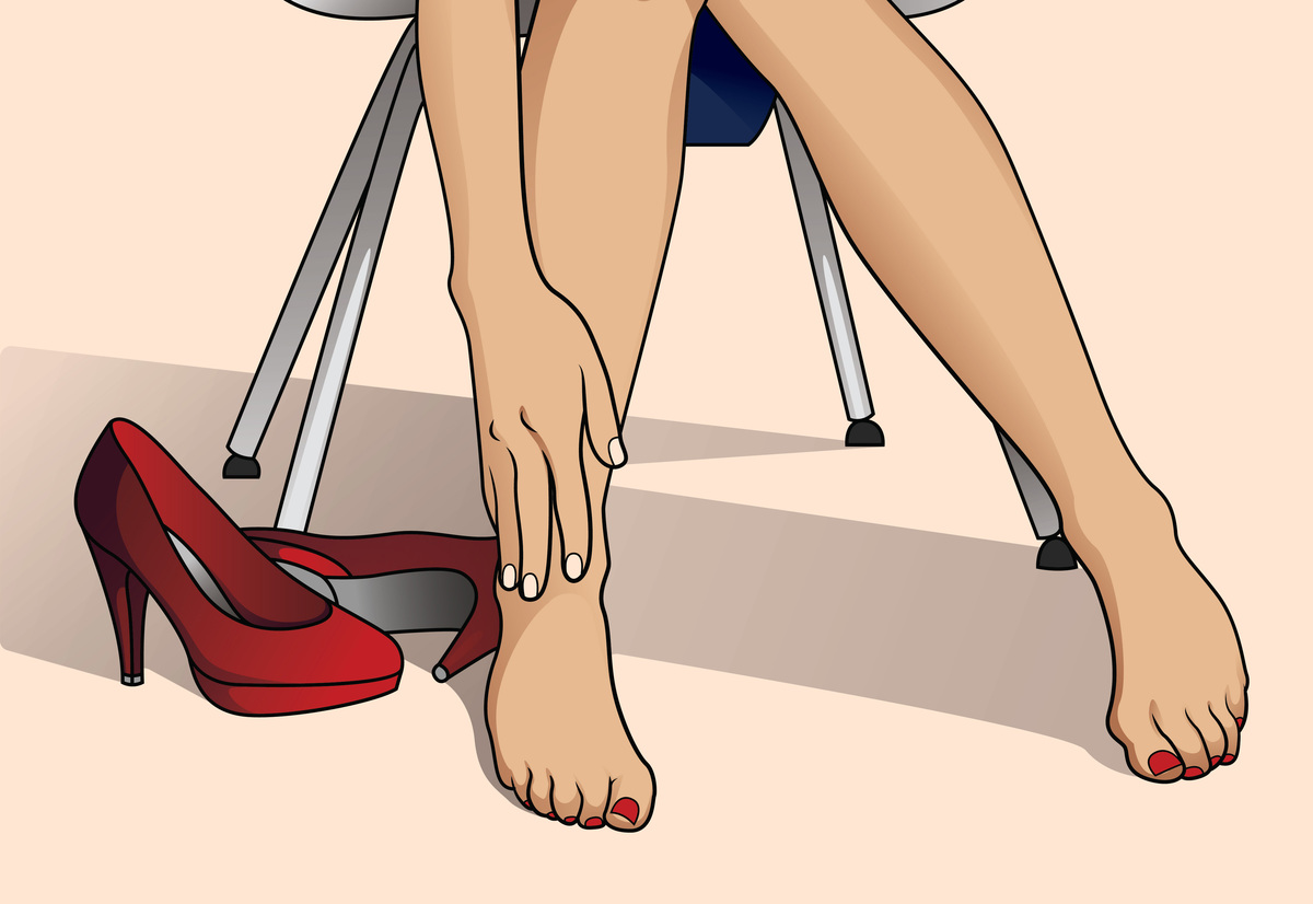 A woman massages her stiff ankles in this illustration.