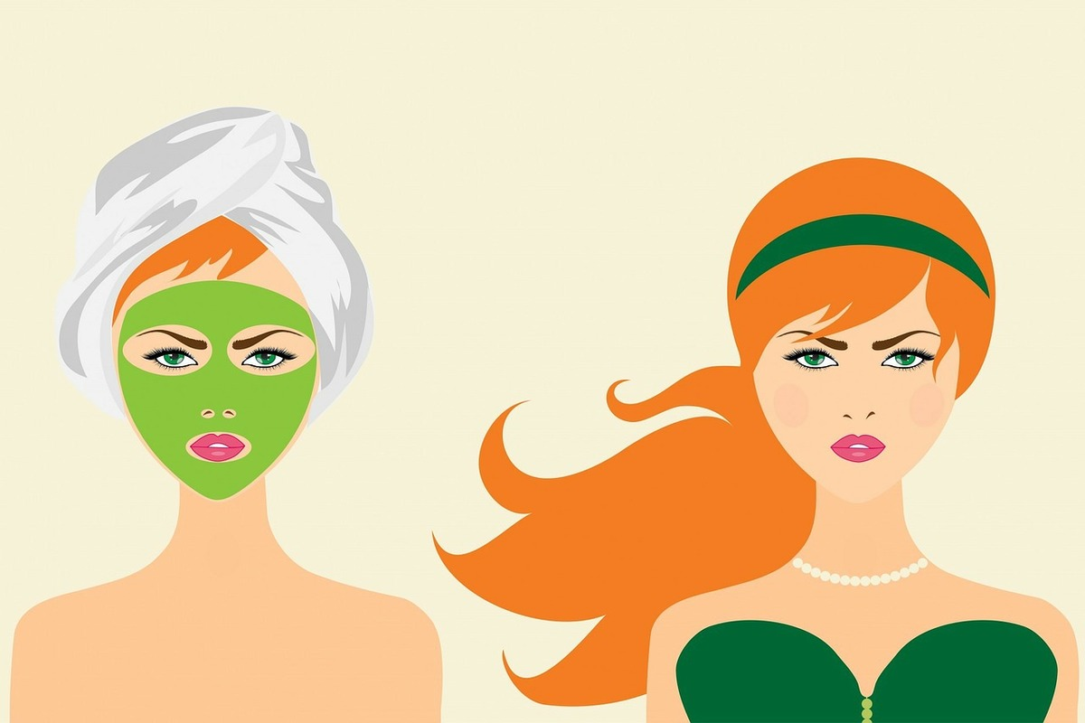 A woman wears a face mask on the left and is dressed up on the right.