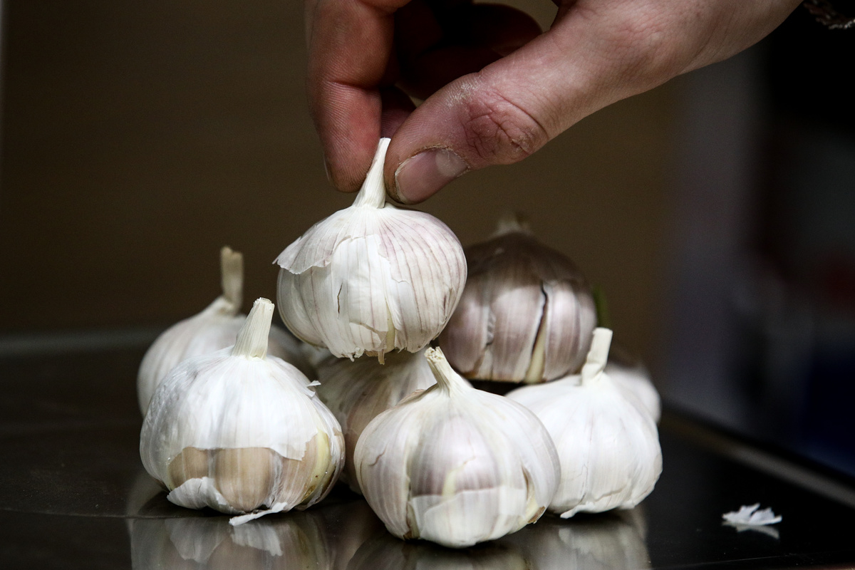 A person places garlic on a scale to weigh.