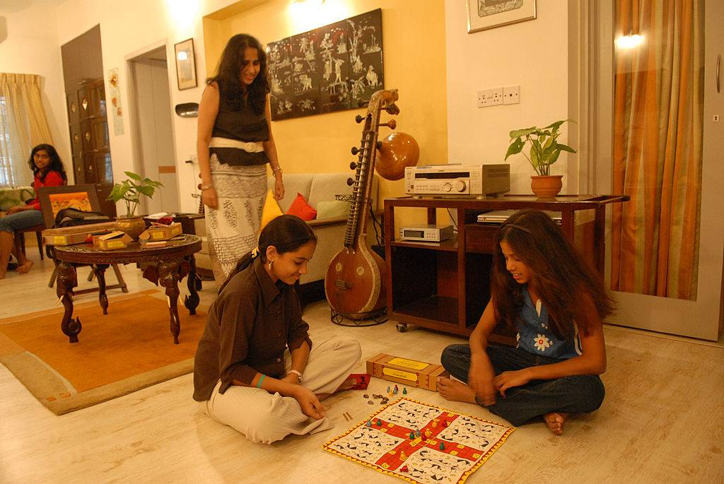 Girls playing a game