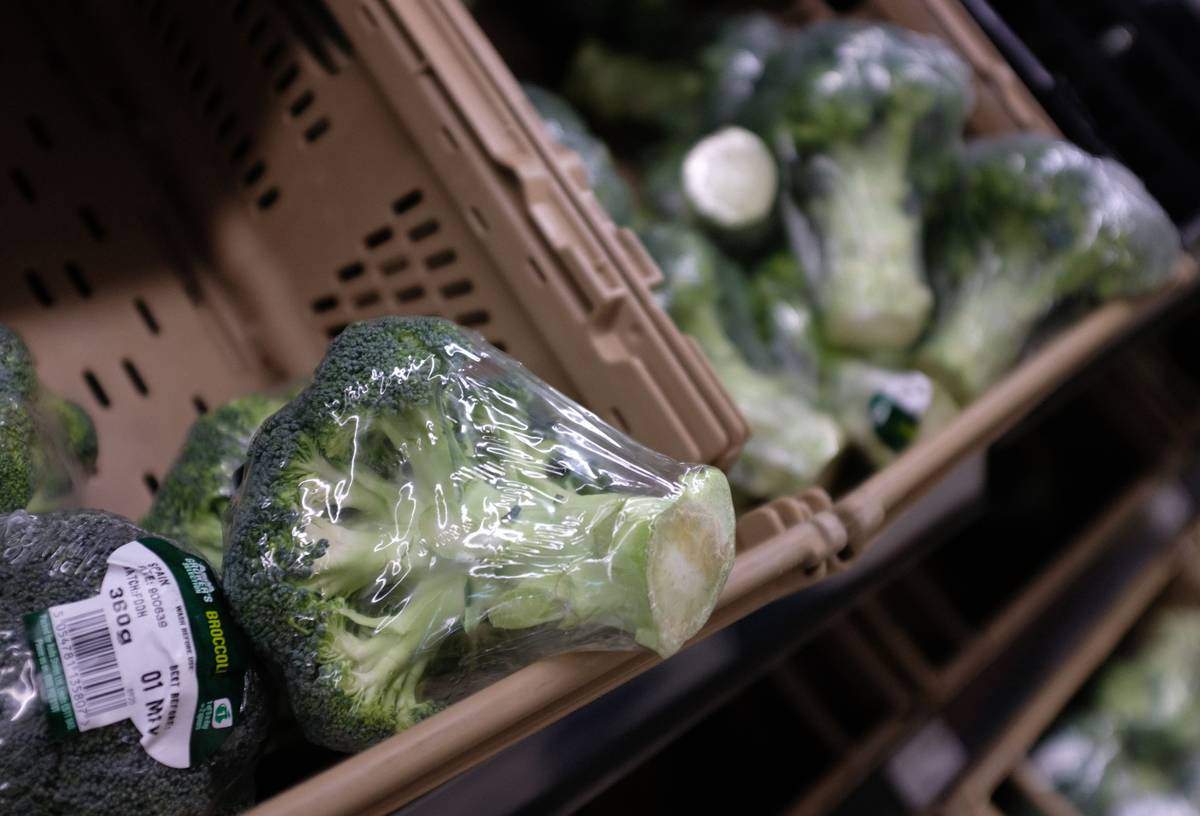 Broccoli florets are wrapped in plastic and placed in plastic bins.