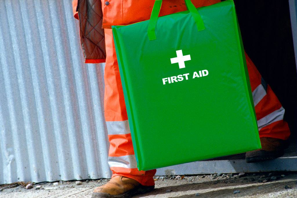 Man with first aid kit