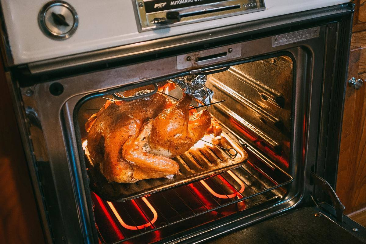 A turkey sits in an open oven.