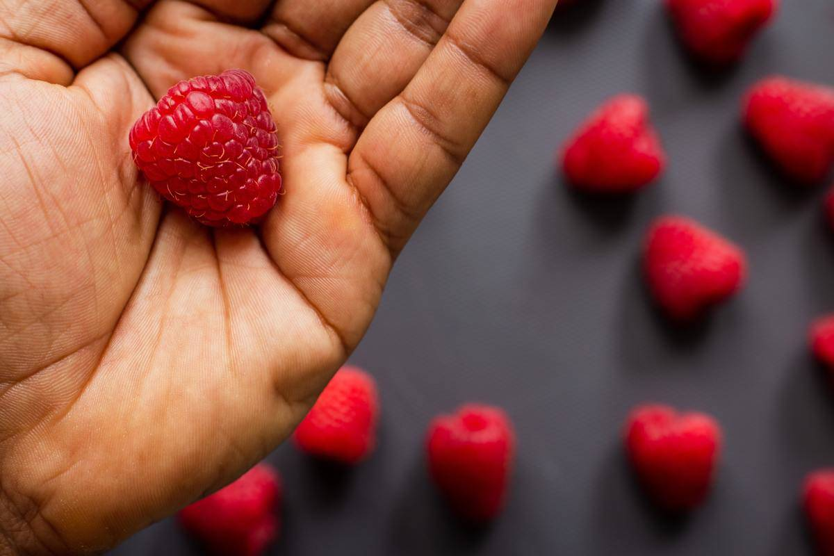 A raspberry sits in someone's palm.