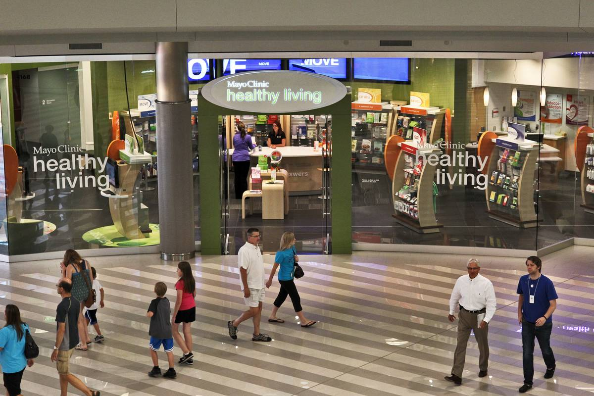 Mayo Clinic's health care services stores is open in a mall.