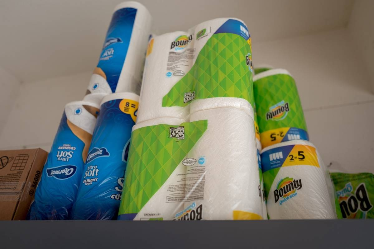 Paper towel packages are stocked.